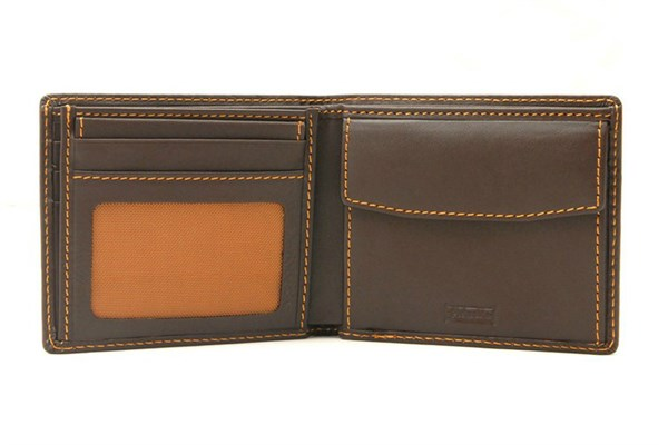 BILLETERO PIEL NOBLE  AMERICANO CON MONEDERO PN323 MARRON