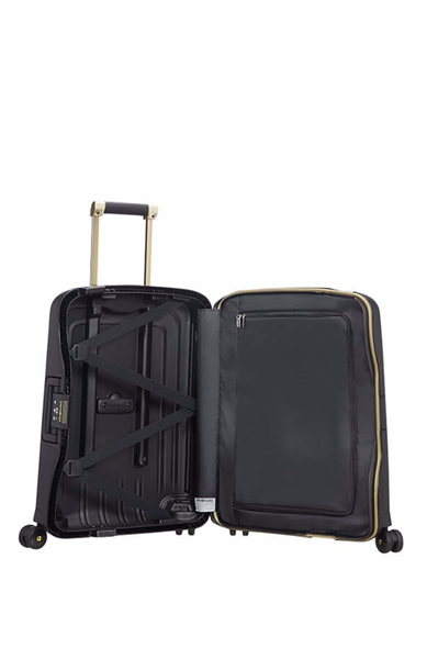 MALETA SAMSONITE S'CURE DLX Spinner 55cm Black/Gold Deluscious (1)