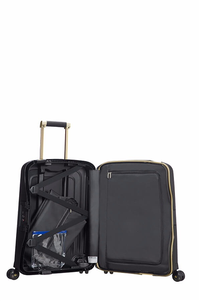 MALETA SAMSONITE S'CURE DLX Spinner 55cm Black/Gold Deluscious (2)