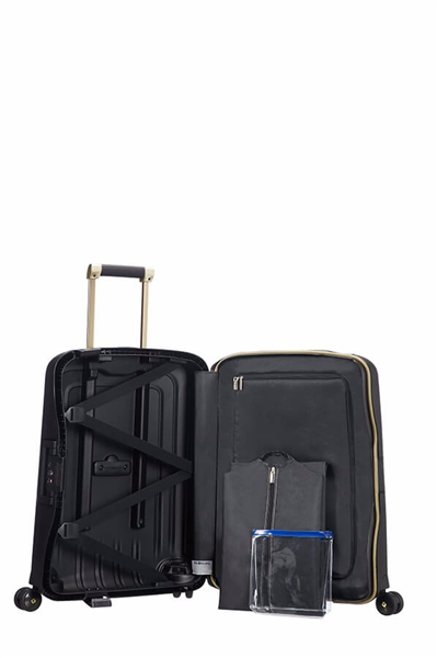 MALETA SAMSONITE S'CURE DLX Spinner 55cm Black/Gold Deluscious (3)