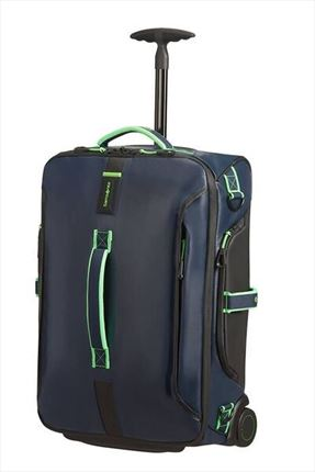 SAMSONITE PARADIVER LIGHT Bolsa de viaje con ruedas 55cm Night Blue/Fluo Green